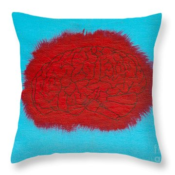 Brain Red Throw Pillow