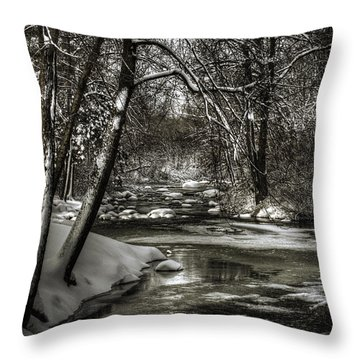 Brainards Bridge After A Snow Storm 4 Throw Pillow by Thomas Young