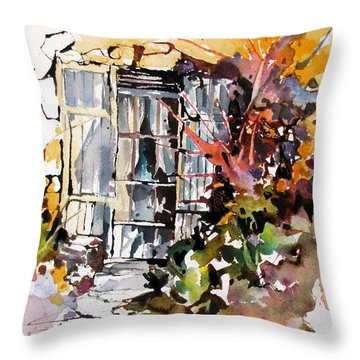 Throw Pillow featuring the painting Brambles by Rae Andrews