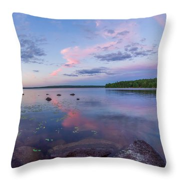 Branch Lake Mirror Sunset Throw Pillow