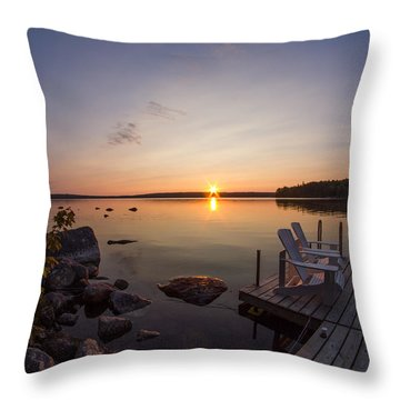 Branch Lake Sunrise In Maine Throw Pillow