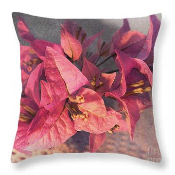 Branch With Bougainvillea Flowers  Throw Pillow by Sviatlana Kandybovich