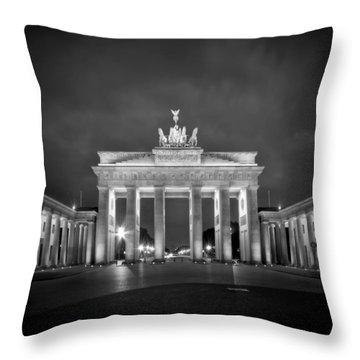 Brandenburg Gate Berlin Black And White Throw Pillow