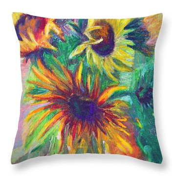 Brandy's Sunflowers - Still Life On Windowsill Throw Pillow