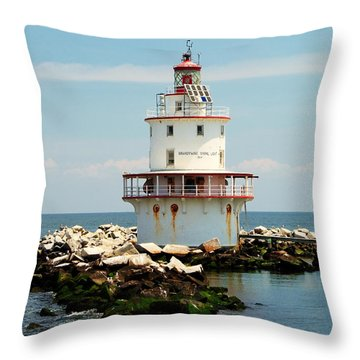 Brandywine Shoal  Lighthouse Throw Pillow by Nick Zelinsky