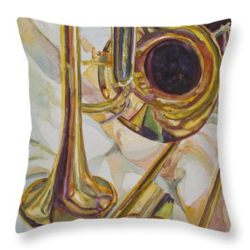 Brass At Rest Throw Pillow by Jenny Armitage