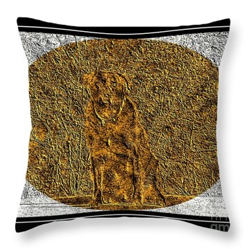 Brass Etching - Oval - Labrador Retriever Throw Pillow by Barbara Griffin