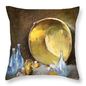 Throw Pillow featuring the digital art Brass Kettle With Blue Bottles After Carlsen by Lianne Schneider