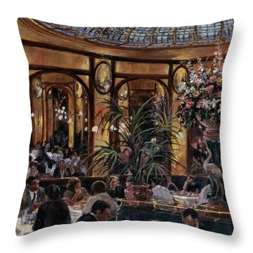 Brasserie Bofinger In The Rue De La Bastille, Paris, 1999 Oil On Canvas Throw Pillow