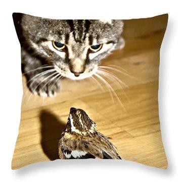 Brave Bird  Throw Pillow by Susan Leggett