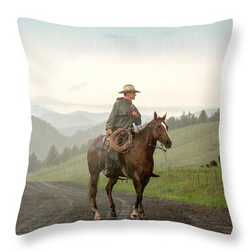 Braving The Rain Throw Pillow by Todd Klassy