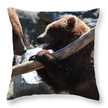 Brawling Bears Throw Pillow by DejaVu Designs