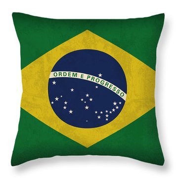 Brazil Flag Vintage Distressed Finish Throw Pillow by Design Turnpike