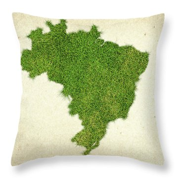 Brazil Grass Map Throw Pillow