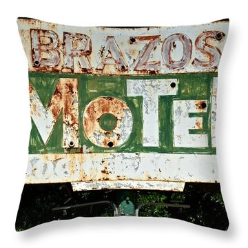 Brazos Motel Throw Pillow