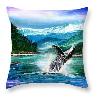 Breaching Humpback Whale Throw Pillow