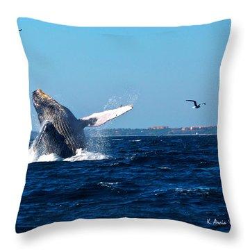 Breaching Whale Throw Pillow