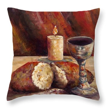 Bread And Wine Throw Pillow by Lou Ann Bagnall