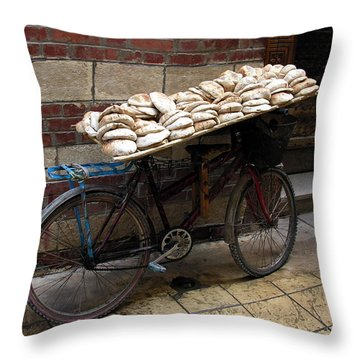 Throw Pillow featuring the photograph Bread To Go In Cairo by Jacqueline M Lewis