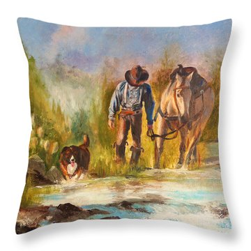 Throw Pillow featuring the painting Break For The Ride by Karen Kennedy Chatham