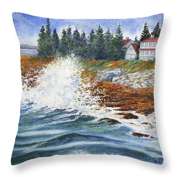 Throw Pillow featuring the painting Breakers At Pemaquid by Roger Rockefeller