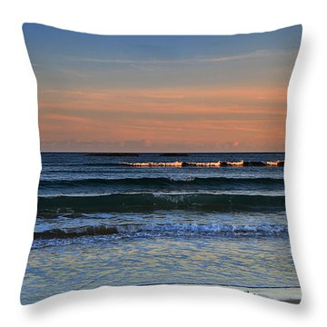 Breakers At Sunset Throw Pillow by Louise Heusinkveld