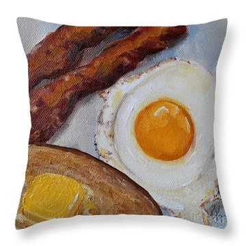 Breakfast Bacon Egg And Toast Throw Pillow