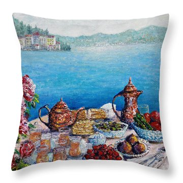 Breakfast In Istanbul Throw Pillow by Lou Ann Bagnall