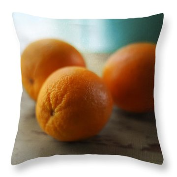 Breakfast Oranges Throw Pillow by Amy Tyler