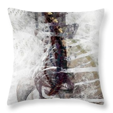 Throw Pillow featuring the digital art Breaking Bones by NirvanaBlues