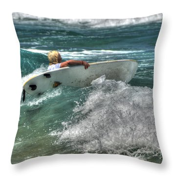 Throw Pillow featuring the photograph Breaking Waves by Julis Simo