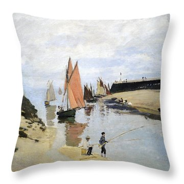 Breakwater At Trouville Throw Pillow