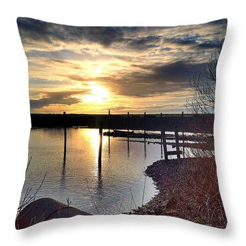 Throw Pillow featuring the photograph Breakwater Boat Dock Sunset by Chriss Pagani