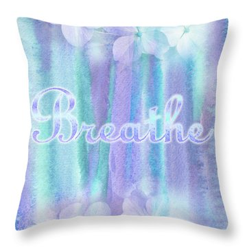 Breathe Refreshing Hydrangea Turquoise Purple Watercolor Throw Pillow