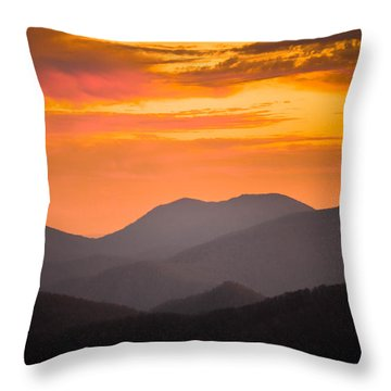 Breathtaking Blue Ridge Sunset 3 Throw Pillow