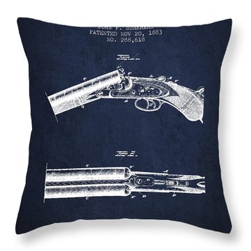 Breech Loading Gun Patent Drawing From 1883 - Navy Blue Throw Pillow