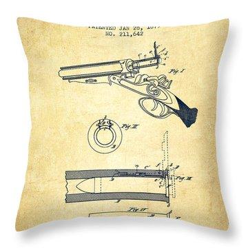 Breech Loading Shotgun Patent Drawing From 1879 - Vintage Throw Pillow
