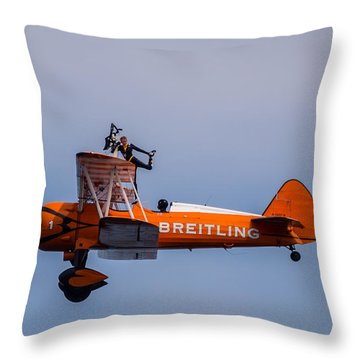 Throw Pillow featuring the photograph Breitling Wingwalker Cockpit Stand by Scott Lyons