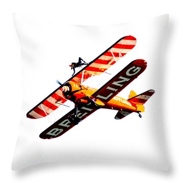 Throw Pillow featuring the photograph Breitling Wingwalker High Contrast Sunderland Air Show 2014 by Scott Lyons