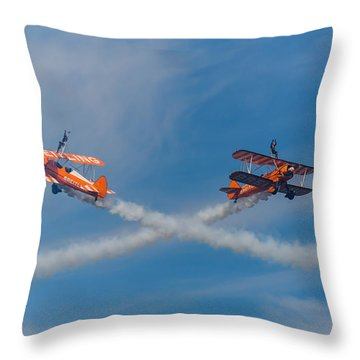 Throw Pillow featuring the photograph Breitling Wingwalkers Cross Sunderland 2014 by Scott Lyons