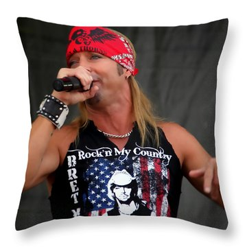 Bret Michaels In Philly Throw Pillow by Alice Gipson