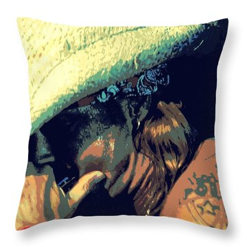 Bret Michaels With Harmonica Throw Pillow