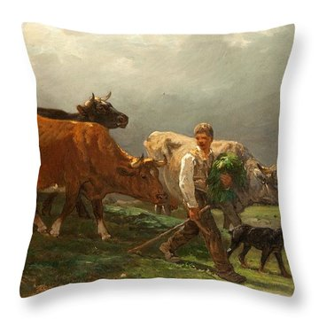 Breton Lad With Cattle Throw Pillow by Julius Caesar Ibbetson