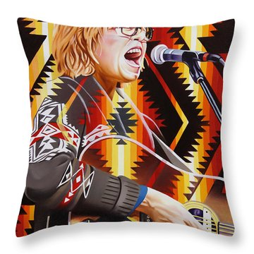 Throw Pillow featuring the painting Brett Dennen by Joshua Morton