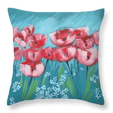 Brezzy Poppies Throw Pillow
