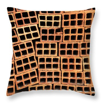Brick Abstract Throw Pillow by Vivian Christopher