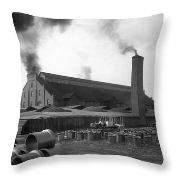 Brick And Lime Company Factory Throw Pillow