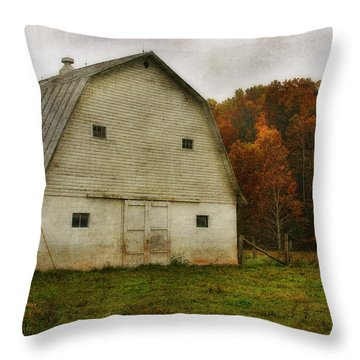 Throw Pillow featuring the photograph Brick Barn by Joan Bertucci