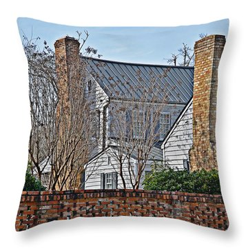 Throw Pillow featuring the photograph Brick Chimneys by Linda Brown