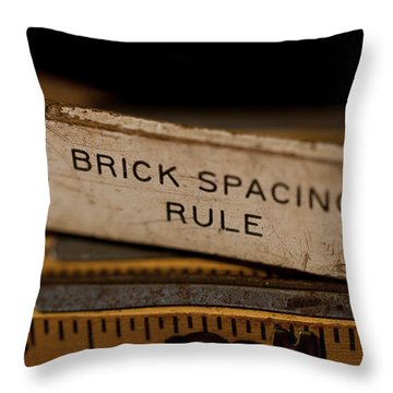 Brick Mason's Rule Throw Pillow by Wilma  Birdwell